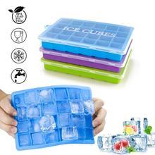 Силиконовая форма IceCube, форма в сетку с крышкой, лоток для льда для дома, 24 квадратных льда, коробка для еды, силиконовая панель, кухонные принадлежности, ведро