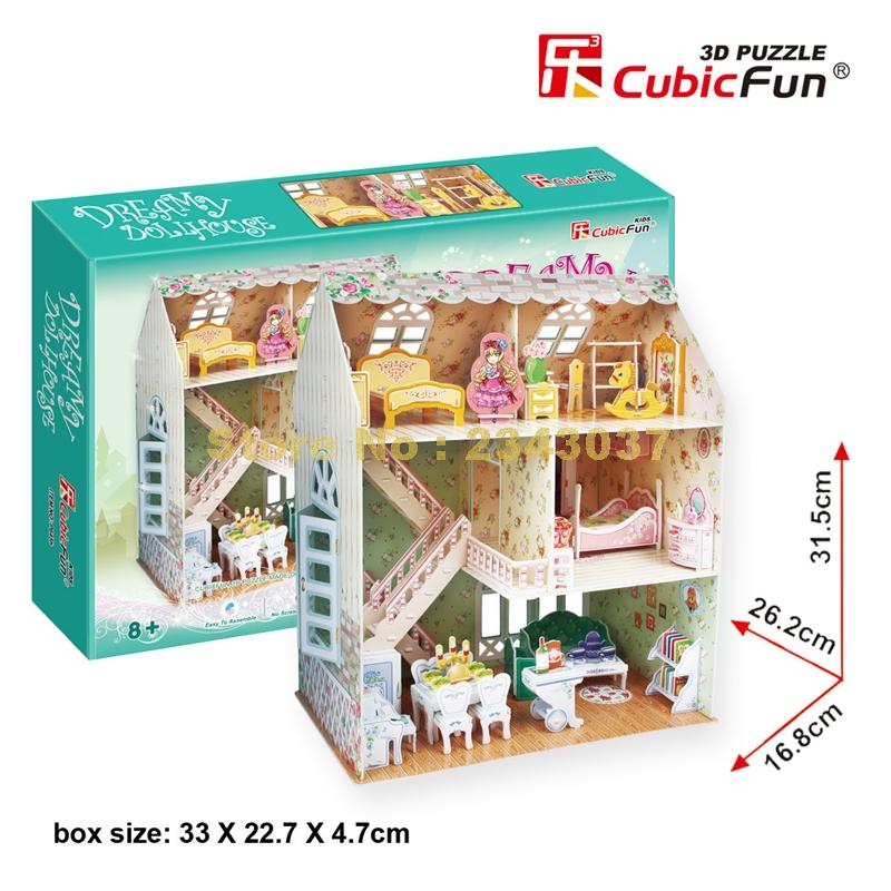 Charitable Cubicfun P645h Dreamy Dollhouse Miniature Model 160pcs 31.5cm Educational Toy Girl 3d Puzzle