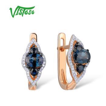 ad27c8bf5b3c VISTOSO pendientes de oro para las mujeres 14 K 585 oro rosa brillante zafiro  azul de lujo diamante boda banda aniversario joyería fina