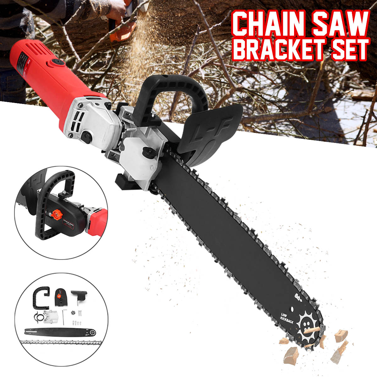 Upgrade Electric Saw Parts 16 Inch M10 Chainsaw Bracket Changed 100 Angle Grinder Into Chain Saw Woodworking Power Tool SetUpgrade Electric Saw Parts 16 Inch M10 Chainsaw Bracket Changed 100 Angle Grinder Into Chain Saw Woodworking Power Tool Set