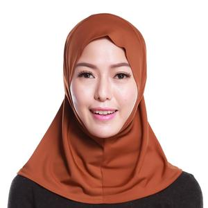 Image 5 - イスラム教徒の女性フルカバーキャップヒジャーブミニスカーフ帽子ターバン帽子ヘッドカバーイスラムスカーフの下無地スカーフアミラ忍者