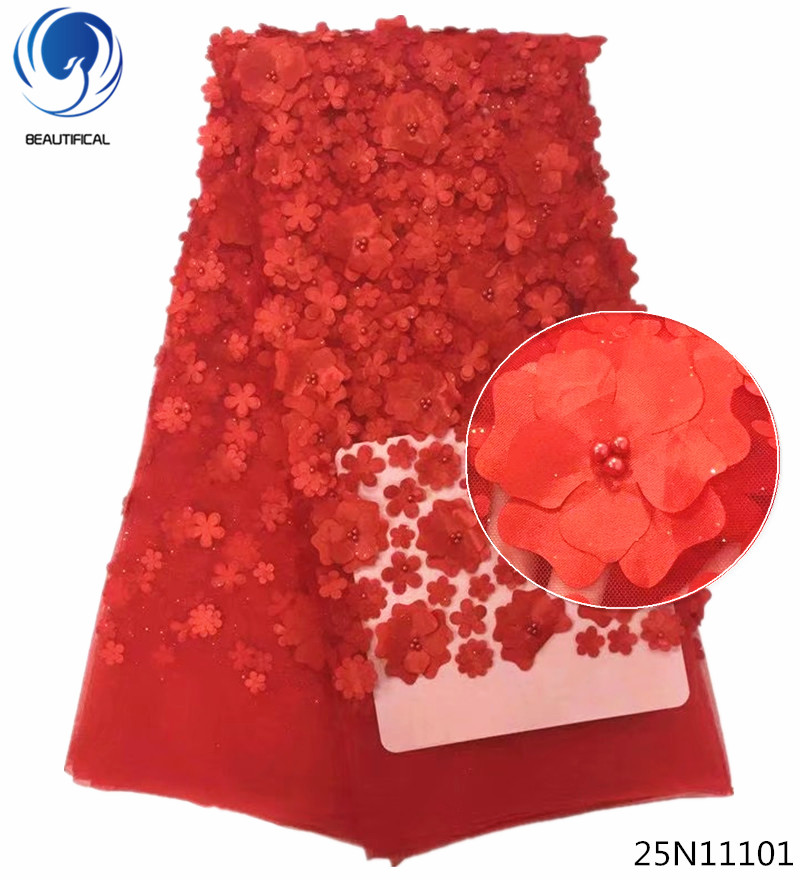 Beautifical 3d lace fabric red 3d beaded lace fabric for wedding dresses african fabric lace 5yards 3d flower pattern 25N111