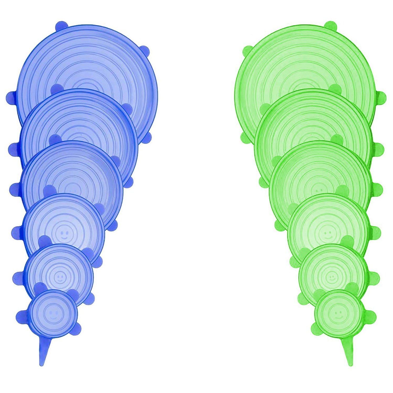 Couvercles Extensibles en Silicone, Paquet de 12 Différents Flexible Sans Couvercles De Contenants Alimentaires Couvre Pour Toute Forme De Conteneurs, Micro-Onde et Dishwa