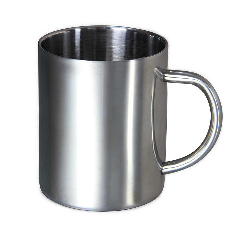 1pc New Comfortable handle Silver Double Wall Stainless Steel Portable Coffee Mug Tumbler Tea Cup for Travel 220ml 300ml 400ml
