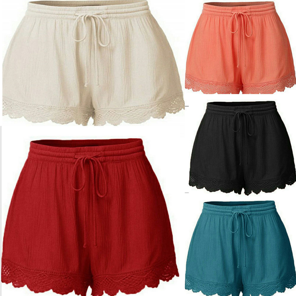 2018 New Style Women Ladies Casual Beach Summer Shorts Casual Loose Solid Lace Shorts Oversize Plus Size L-5XL(China)