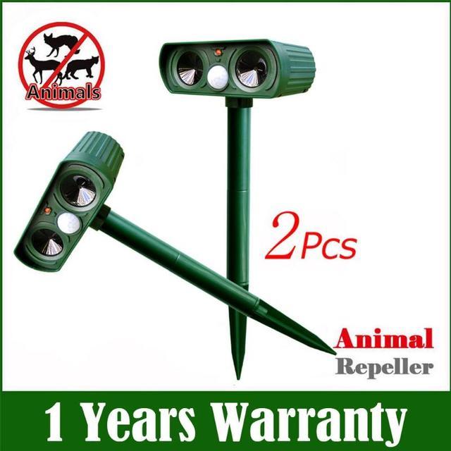 Répulsif solaire ultrasonique, 2 pièces, répulsif pour animaux de plein air, répulsif pour chien/chat/oiseau/taupe, PIR, renards, fournitures de jardin