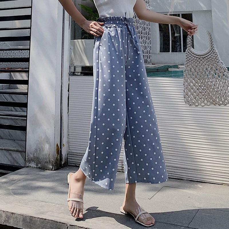 Streetwear 2019 Summer Polka Dot   Pants   Women Korean Boho High Waist Wide Leg   Pant   Casual Loose Trousers Women Pantalon Femme