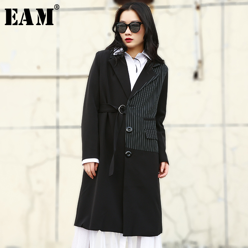 [EAM] 2019 New Spring Summer Lapel Long Sleeve Black Striped Split Joint Loose Windbreaker Women   Trench   Fashion Tide JR130