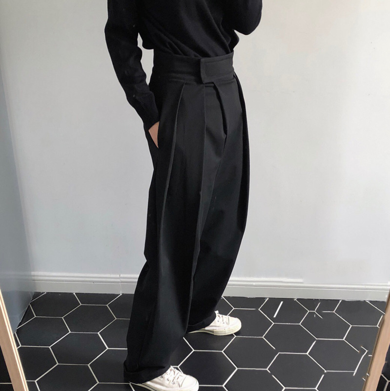 LANMREM 2019 Fashion Velcro High Waist Fold Slanted Women Wide Leg Pants Spring Autumn Female Loose Trousers Casual Bottom TA992