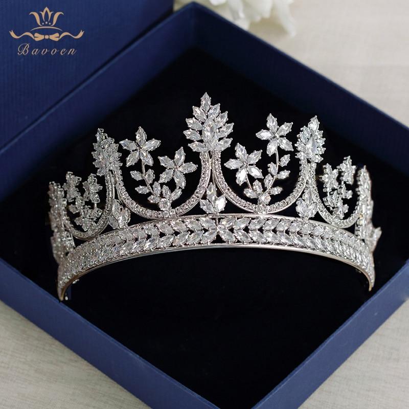 Haut de gamme Royal Reine Argent Diadèmes Couronnes pour les Mariées Mariées Cristal Bandeaux Plein Zircon De Mariage Cheveux Accessoires Coiffes