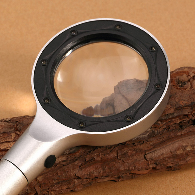 Bring LED 8 Lamp Read Hold Type 5 Times Optical Glass Magnifier Full Metal Frame Magnifier