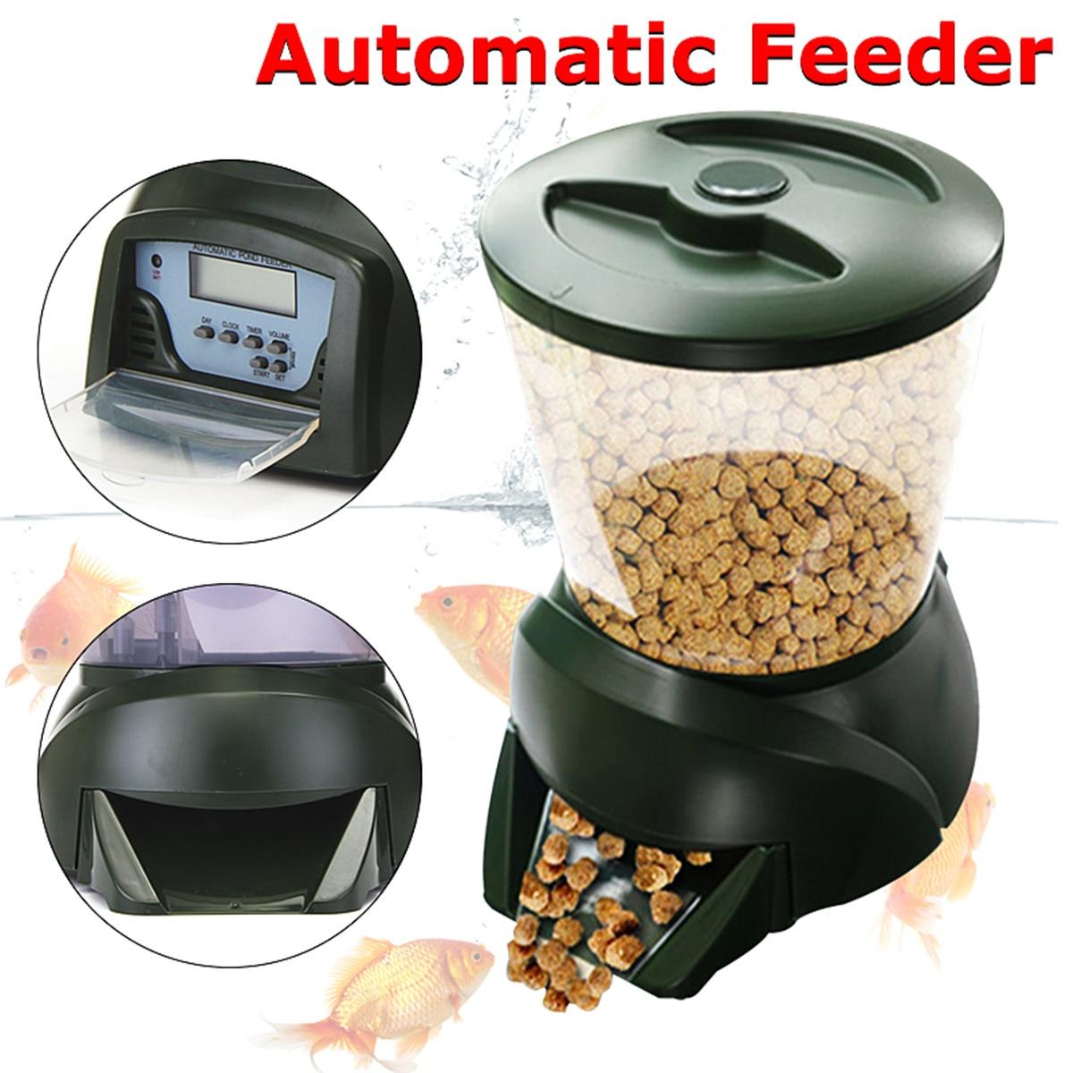 4 25L Food Hopper LCD Display Digital Automatic Pond Fish Tank Aquarium Feeder Clock Detachable Free