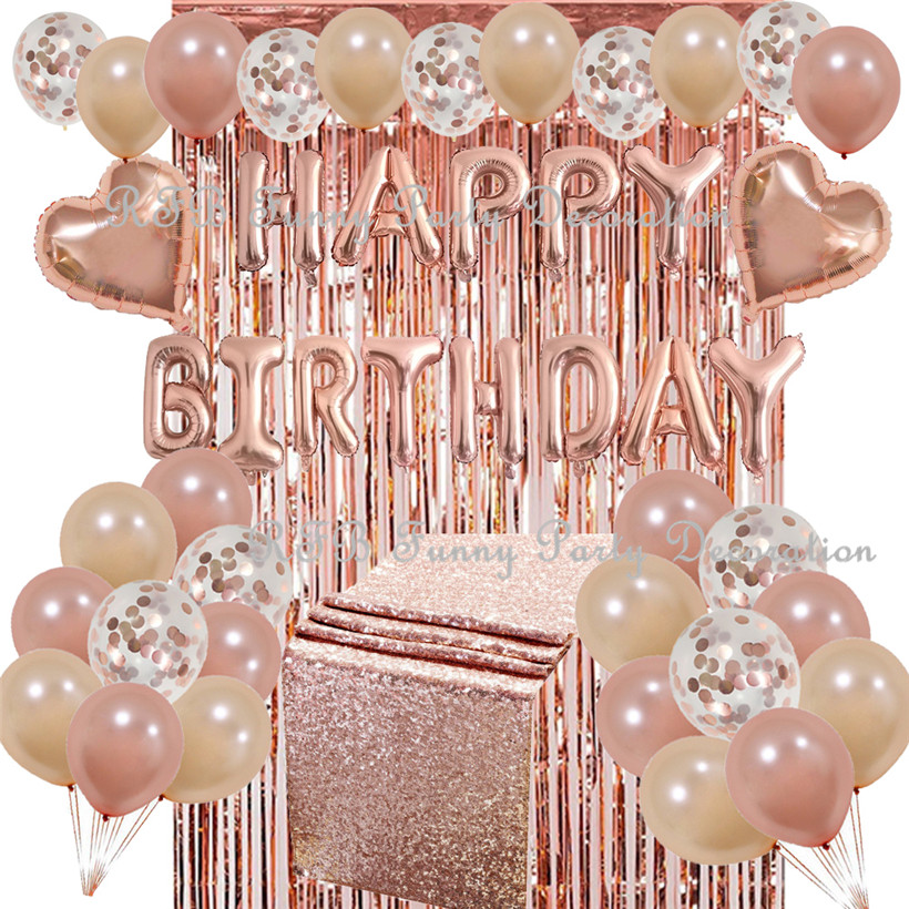 Rose Gold Birthday Party Decorations Rose Gold Table Runner Foil Fringe Curtain Confetti Balloons for Wedding
