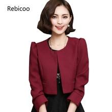 2019 Spring/Autumn New Slim Short Jacket Women Blazer Solid color Large size Blazer Women Round neck Long sleeve Blazer