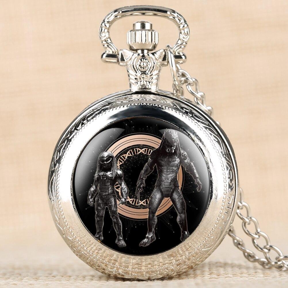 Newest Movie Theme Predator Retro Pocket Watch Alien Patterns Quartz Pocket Watch Pendant Clock Necklace Chain For Men Women
