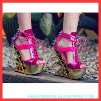 Пикантная женская обувь на платформе для ночного клуба, Европы, сцены, танцев, Преувеличенные, смешанные цвета, электро оптические, на высок