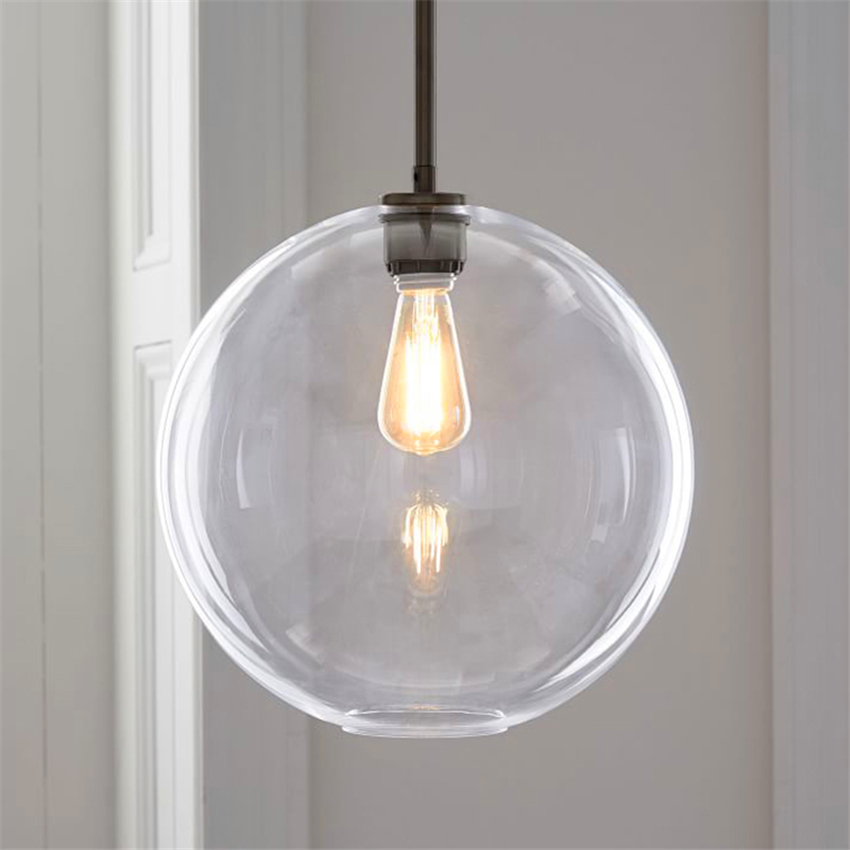 Modern LED Pendant Light Transparent Silver Gold Glass Ball Hanging Lamps Hanglamp Kitchen Fixtures Dining Living Room Luminaire in Pendant Lights from Lights Lighting