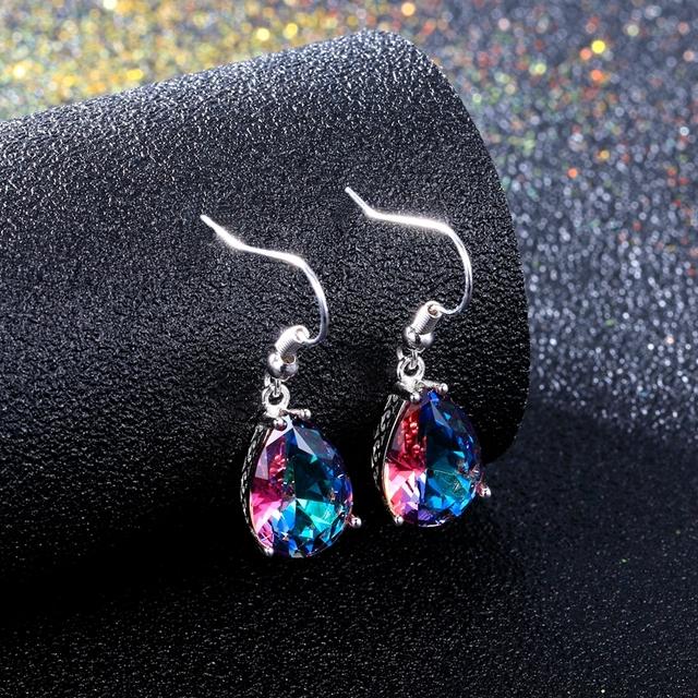 925 Sterling Silver Drop Earrings for Women 10x14MM Water Drop Topaz Gemstone Wedding Earrings With Stones Fashion Jewelry Gifts