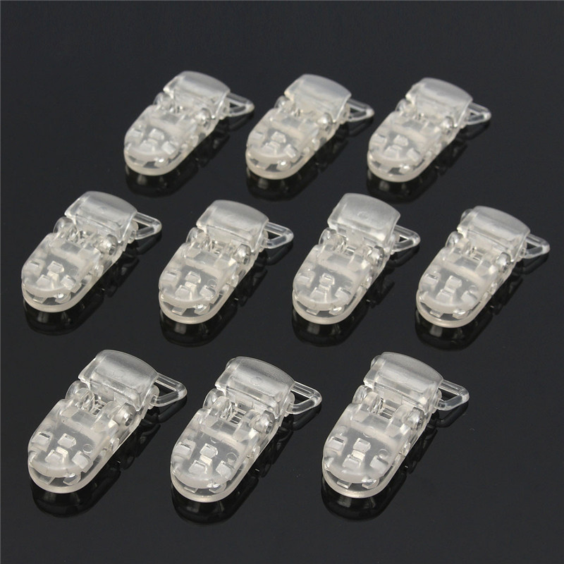 10Pcs/Set Transparent Clear T-Shaped Plastic Dummy Badge Clips Suspender Soother Pacifier Holders Office Binding Supplies Kit
