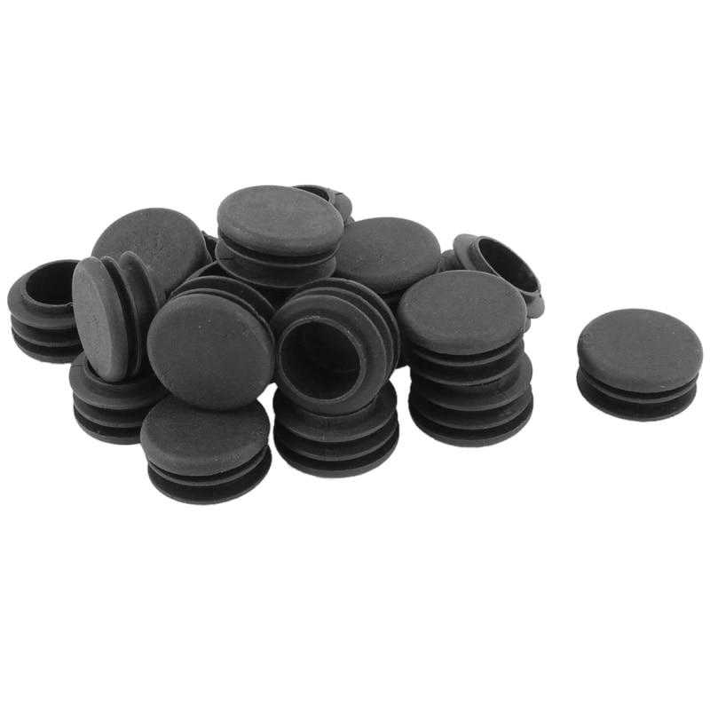Plastic Round Tubing Tube Insert Plug Cap Bung 28mm Dia 20pcs Black