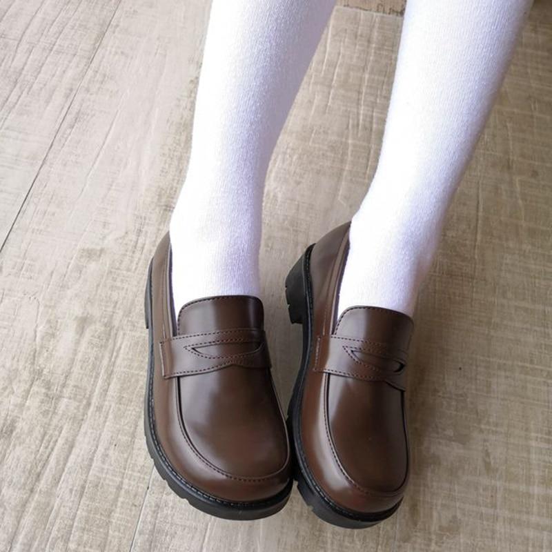 Women Girls Lolita Japanese School Students Uniform Shoes Uwabaki JK Round Toe Cosplay Med Heels