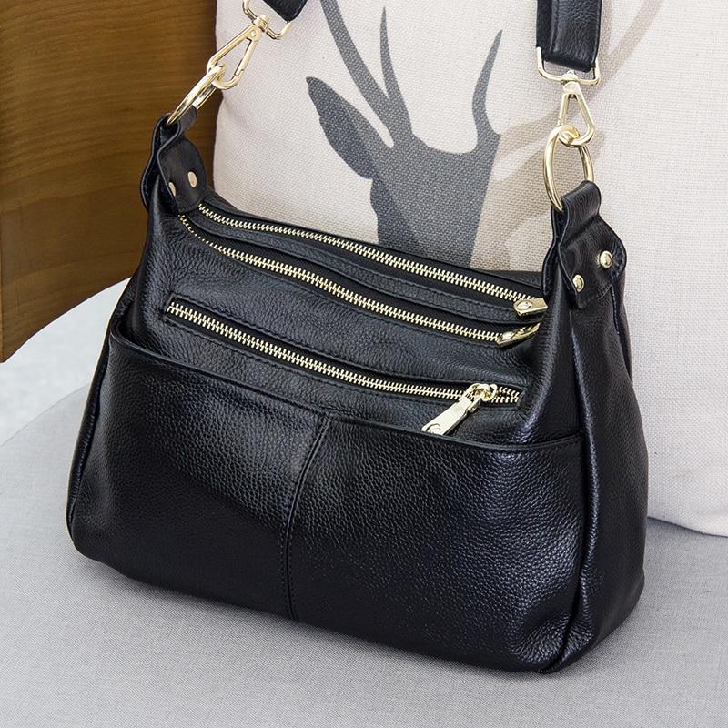 Women Shoulder Bag 100% Genuine Leather Handbag Black Hobos Fashion Lady Messenger Crossbody Purse Large Capacity