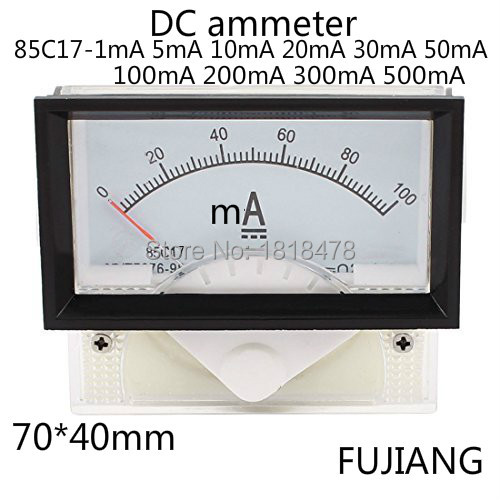 Pointer Type DC Ammeter 85C17 20mA 0-50mA DC Micro Ammeter Head Rectangle Shaped Vertical Mounted Analog Ammeter Ampere Meter