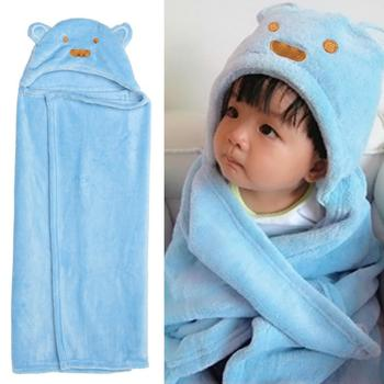 Newbron Baby Fleece Blanket Sleeping Robes Winter Spring Cartoon Bear Infant Sleepwear Suit Kids Robe Hooded Bathrobe Pajamas