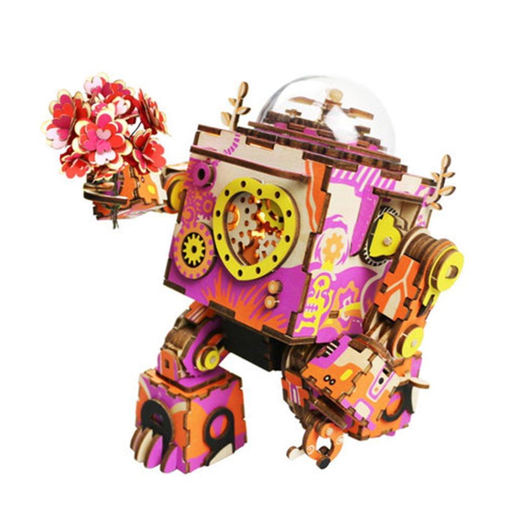 Robot en bois chaud fait à la main bricolage assemblé modèle boîte à musique Steampunk peut être tourné boîte à musique mécanique cadeau parfait pour Frien