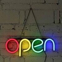 Colorful Neon Bulbs 16'' OPEN Neon Sign LED Light Tube Handmade Visual Artwork Bar Club KTV Wall Decoration Commercial Lighting