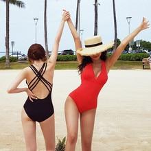Solid V Shape One Piece Swimsuit Women Swimwear Female V-bar Red Black Bather 2019 Bathing Suit Swim Lady Monokini Bodysuit