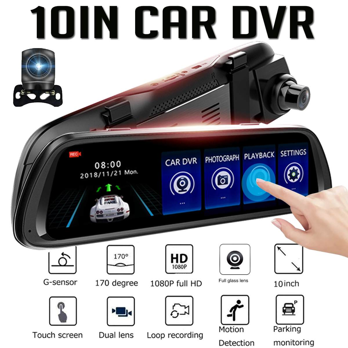 Car-Dvr-Camera Rear-View-Mirror Video-Recorder Media Dash-Cam Wifi Registrar Stream Night-Vision