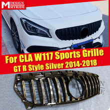 Fits For W117 Sports Grille ABS Silver GTS Style Front Bumper CLA180 CLA200 CLA250 GT R Without emblem Mesh 14-18