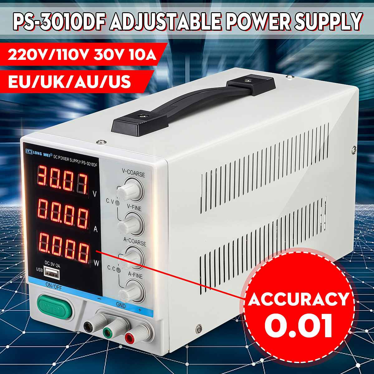 High Precision High Power Adjustable LED Display Switching DC Power Supply 10V/220V0~30V 0~10A  For Laboratory and TeachingHigh Precision High Power Adjustable LED Display Switching DC Power Supply 10V/220V0~30V 0~10A  For Laboratory and Teaching