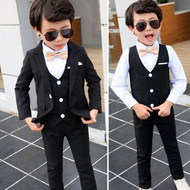 ad8679e8196 2-10Yrs Boys Jacket pant vest 3parts Wedding flower Dress Kid Fashion Show  black Blazers