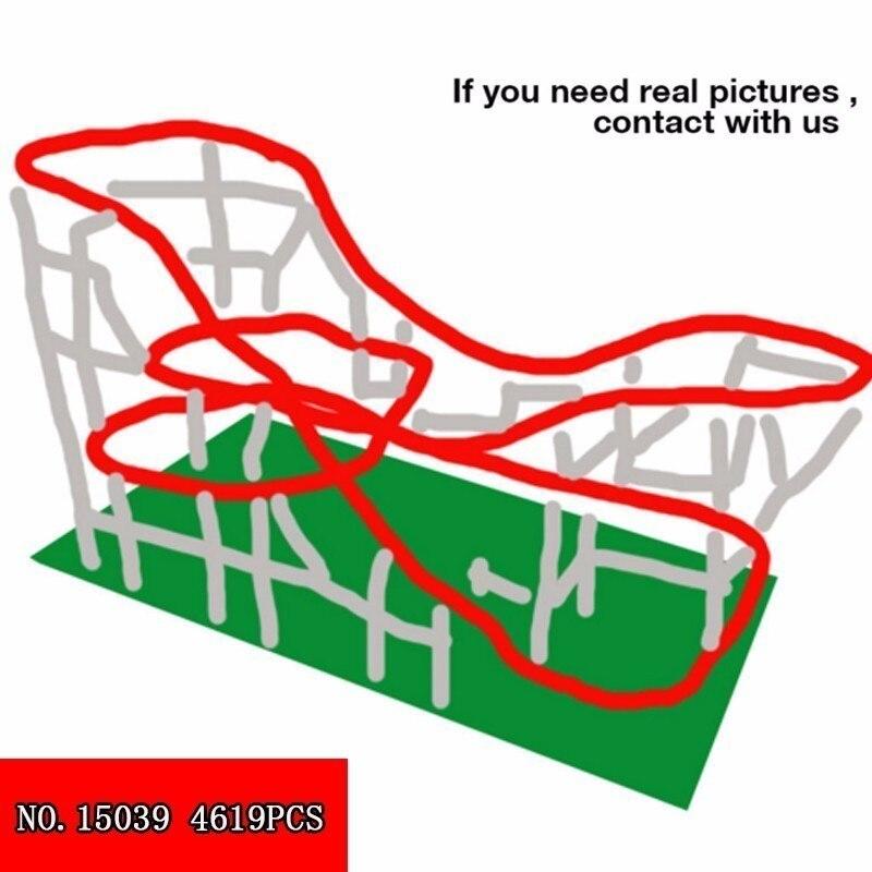 4619pcs Originality Streetscape Series Playground Large Roller Coaster Children Alpinia Plastic Building Block Toys 15039