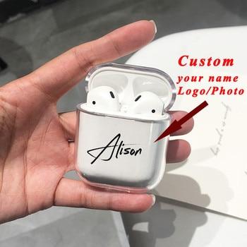 Персонализирано име / лого / изображение твърд пластмасов калъф за калъф Air Pods за Bluetooth безжичен Airpod капак DIY персонализирани фотобукви