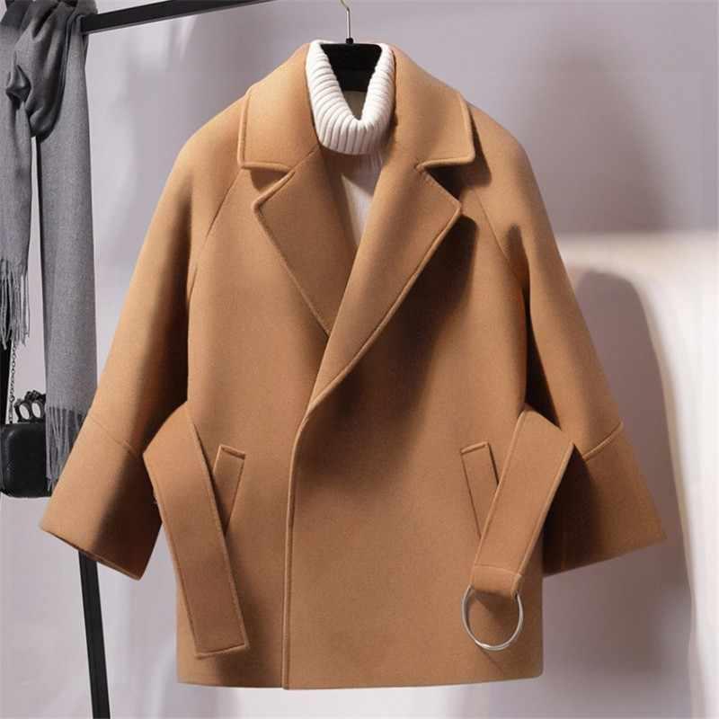 Осеннее верблюжье Короткое шерстяное пальто Женская куртка с поясом осеннее Однотонное шерстяное пальто пояс галстук Элегантная Женская Осенняя шерстяная куртка верхняя одежда
