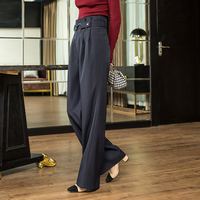 Womens Winter Trousers Casual Solid Wide Leg Bottom Casual Loose Lounge Pleated Pants Streetwear S 3XL
