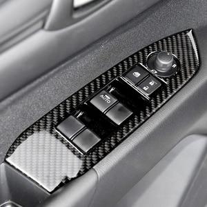 Image 5 - لمازدا CX 5 CX 5 2017 2018 4 قطعة/المجموعة الكربون الألياف سيارة نافذة التبديل الباب غطاء لوحة لمسند الذراع فقط LHD
