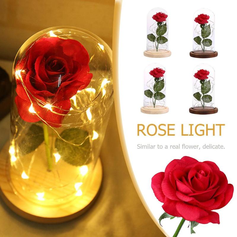 Beauty Red Rose Flower String Light Desk Lamp Romantic Valentine Day Mother's Day Birthday Gift Decoration