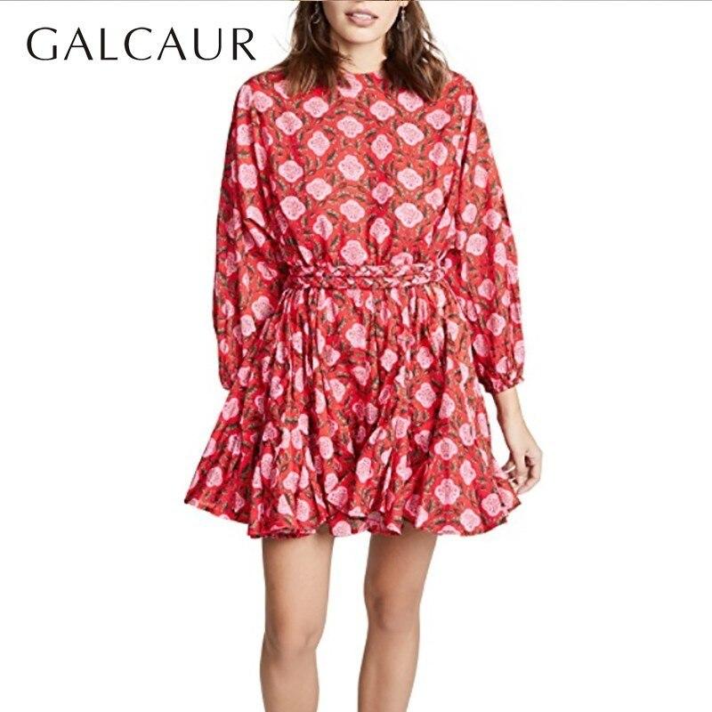 GALCAUR imprimé Floral robe femmes O cou lanterne à manches longues taille haute Mini femmes robes décontracté mode 2019 printemps marée