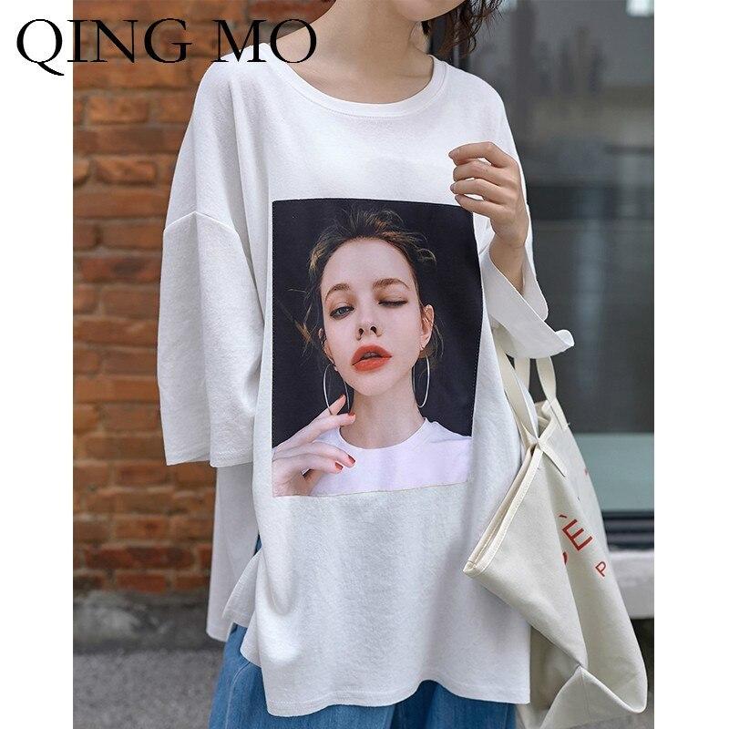 QING MO noir blanc vert femmes caractère impression t-shirt femmes Plus Szie lâche t-shirt femmes printemps trois quarts t-shirt ZQY457