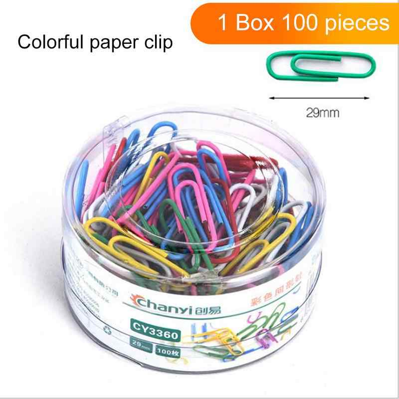 100pcs Colorful Metal Paper Clip Binder Clip Paper Office Stationery Binding Supplies Office School Stationery Marking Clips