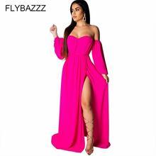 Женское богемное платье с длинным рукавом однотонное длинное