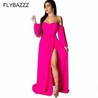2019 Bohemian Long Sleeve Solid Full Dress Women Sexy Backless High Split Off Shoulder Beach Dress Triangle Inside Party Dresses