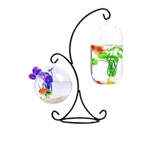 Hanging Type Glass Vase Fish Tank Glass Aquarium Flower Plant Vase With R-Type Iron Frame Big Melon And 12cm Ball For Decor(China)