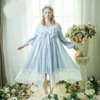 ab62397068dbd00 ... Ночная рубашка пижамы Романтический Длинные кружево лоскутное сна  рубашки мальчиков Винтаж одежда п. Autumn Spring Women Nightgown Sleepwear  Romantic ...