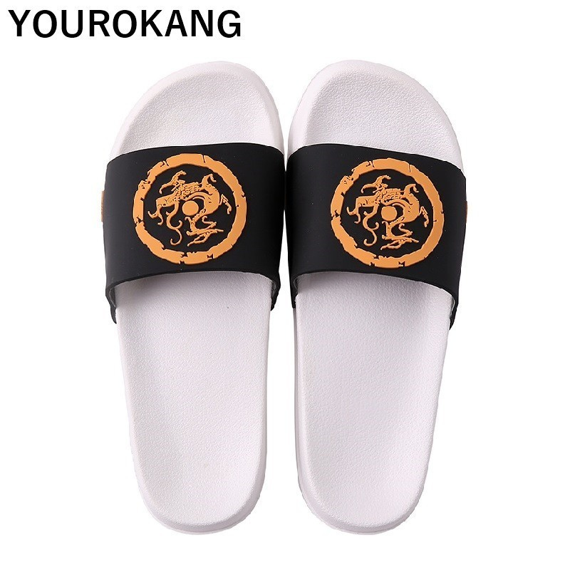 Men Summer Home Slippers Chinese Style Totem Couple Shoes Unisex Indoor Non-slip Badslippers Lovers Beach Sandals Flip Flops