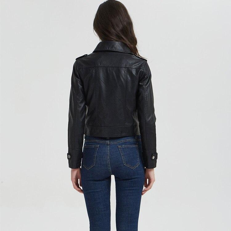 Ladies PU Leather Jacket Moto Biker Jackets Women Black Turn-Down Collar Short Faux Leather Coats Chaqueta Cuero Mujer Autumn